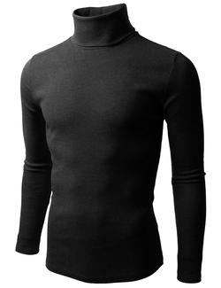 Doublju  - Mens Long Sleeve Cottne Knitted Mock Turtleneck Sweater