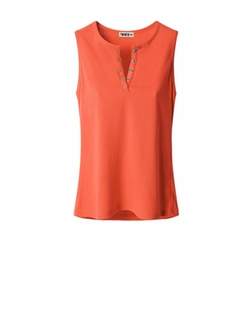Doublju  - Womens Henley Button Sleeveless T-shirt