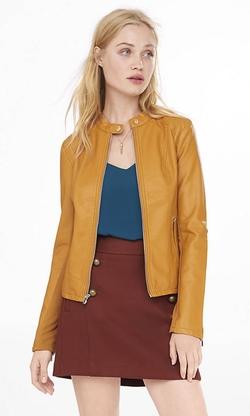 Express - Double Peplum Leather Jacket
