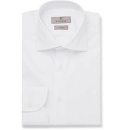 Canali   - White Slim-Fit Cotton-Twill Shirt