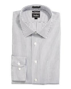 Neiman Marcus  - Trim-Fit Non-Iron Striped Dress Shirt