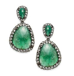 Bavna - Emerald & Champagne Diamond Earrings