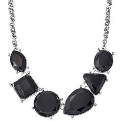 Faux Jewels - Fashion Statement Necklace with Multi-Shaped Stones