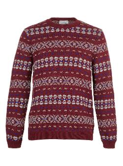 TOPMAN - BURGUNDY PATTERN SWEATER