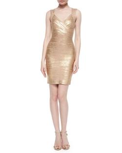 Herve Leger  - Crisscross Metallic Bandage Dress