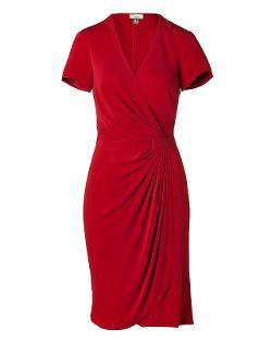 ISSA  - Jersey Side Drape Dress in Bordeaux