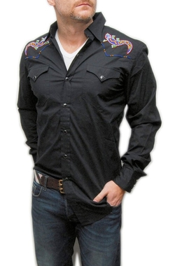 Ralph Lauren Black Label - Western Beaded Lizard Cowboy Shirt