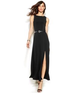 Michael Michael Kors - Grommet-Trim Belted Maxi Dress