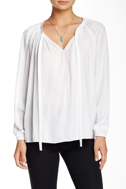 Vince Camuto  - Tie Neck Rumpled Peasant Blouse