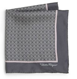 Salvatore Ferragamo - Deco Gancini Silk Pocket Square