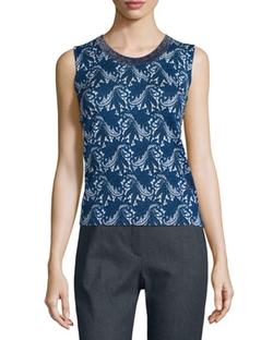Escada - Floral Lace-Print Wool/Silk Tank Top