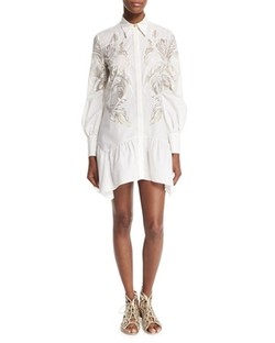 Roberto Cavalli - Long-Sleeve Feather-Print Shirtdress