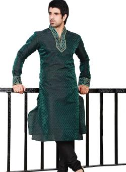 Indusdiva - Green and Black Poly Jacquard Kurta Pajama