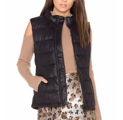 Monrow - Vegan Leather Puffer Down Vest