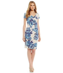 Adrianna Papell - Faux-Wrap Floral-Print Sheath Dress