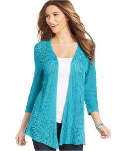 NY Collection - Pointelle-Knit Open-Front Cardigan