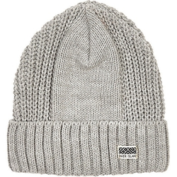 River Island - Boys Grey Ribbed Rolled Up Beanie Hat