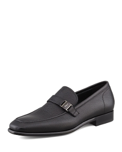 Salvatore Ferragamo - Svezia Pebbled Leather Loafer Shoes