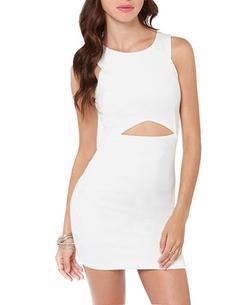 Chicnova - Ivory White Cutout Dress