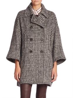 Brunello Cucinelli  - Wool & Alpaca Houndstooth Coat