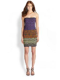 M Missoni  - Colorblock Zigzag-Print Tube Dress/Skirt