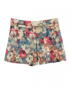 Chicnova - Retro Floral Print High Waist Shorts With Split Hemline