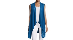 Neiman Marcus Cashmere Collection  - Mesh Draped Vest