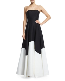 Halston Heritage - Strapless Colorblock Structured Gown