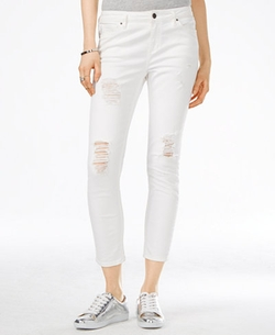 Armani Exchange - Ripped White Wash Cropped Jeans