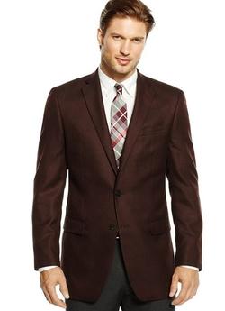Club Room  - Wool Blend Brown Herringbone Blazer