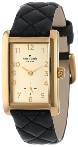 Kate Spade New York - Gold-Tone Watch with Black Leather Band