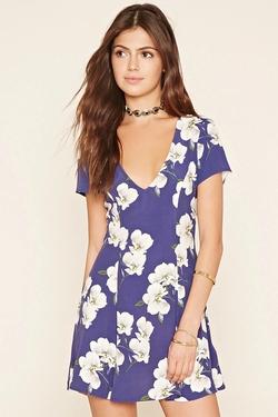 Forever21 - Floral Print V-Neck Dress