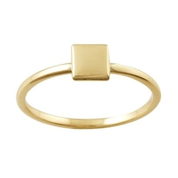 Hazrati - Yellow Gold Stackable Ring with Square Accent