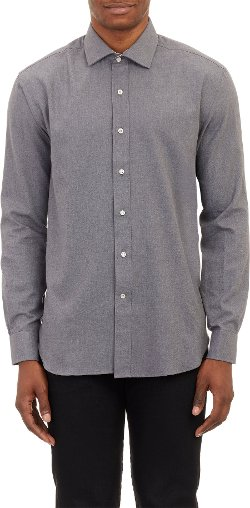 Barneys New York  - Brushed Twill Shirt