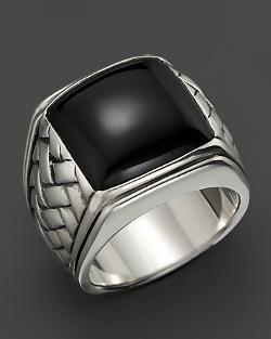 Scott Kay  - Sterling Silver Basketweave Ring with Onyx Center
