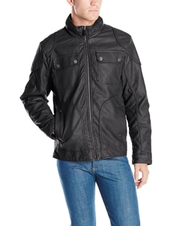 Sportier - Faux Leather Quilted Panels Jacket