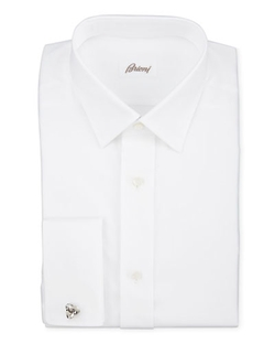Brioni  - Twill French-Cuff Trim-Fit Shirt