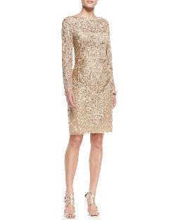 Sue Wong  - Long-Sleeve Embroidered Lace Cocktail Dress, Beige