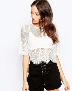 Daisy Street  - Lace Crop Top With Bralet