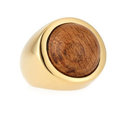 Lizzie Fortunato - 18K Gold Wood Cabochon Ring