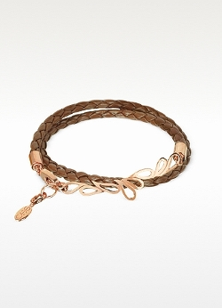Sho London  - Mari Fiendship Rose Plated & Leather Double Bracelet