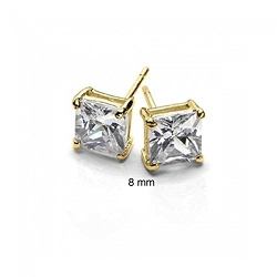 Bling Jewelry  - Mens Plated Princess Cut Sterling Stud Earrings