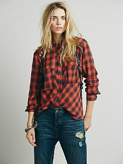 Free People - Plaid Lace Up Button down Shirt