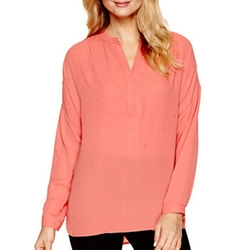 a.n.a - Long-Sleeve Embellished Blouse