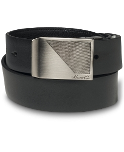 Kenneth Cole New York - Reversible Textured Plaque Buckle Belt