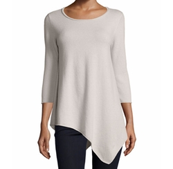 Neiman Marcus Cashmere Collection - Long-Sleeve Asymmetric Cashmere Top