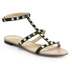 Valentino  - Rockstud Leather Gladiator Sandals