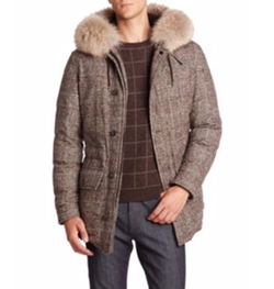 Ermenegildo Zegna - Coyote Fur-Trimmed Plaid Wool Parka Coat