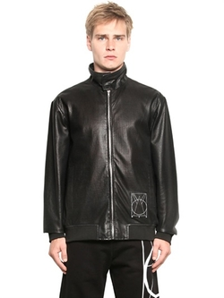 McQ Alexander McQueen  - Perforated Nappa Leather Bomber Jacket
