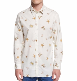Versace Collection - Multi Sea-Life Printed Long-Sleeve Shirt